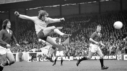 Phil Boyer became Norwich City's first full England international, in 1976 Picture: PA Archive