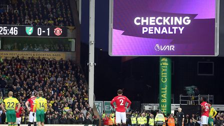 Two penalties were awarded by the video assistant referee (VAR) during Norwich City's 3-1 loss to Ma