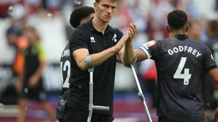 Christoph Zimmermann was left on crutches after Norwich City's defeat at West Ham in August Picture: