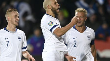Norwich City striker Teemu Pukki celebrates his first goal for Finland during victory over Liechtens