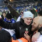 Teemu Pukki of Finland celebrates with fans after their victory in the Euro 2020 Group J qualifying