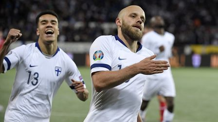 Teemu Pukki of Finland, right, celebrates his goal during the Euro 2020 Group J qualifying soccer ma