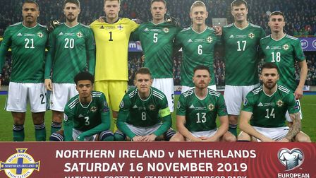Norwich City left-back Jamal Lewis, front left, started for Northern Ireland against Holland Picture