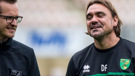Christian Fluthmann, left, alongside head coach Daniel Farke during his time at Norwich City Picture
