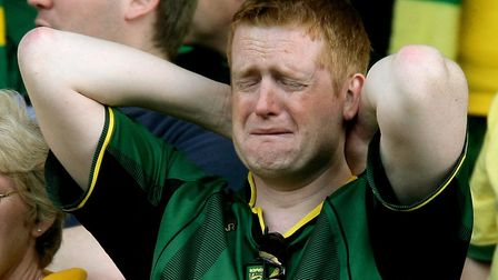 The devastating feeling of relegation is an all too familiar feeling for Norwich City fans. Picture: