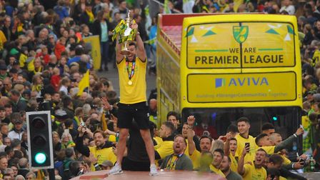 Grant Hanley savoured his moment as captain during Norwich City's title parade Picture: Denise Bradl