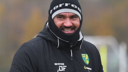 Daniel Farke was wrapped up well at Colney on Thursday Pictures: Brittany Woodman/Archant