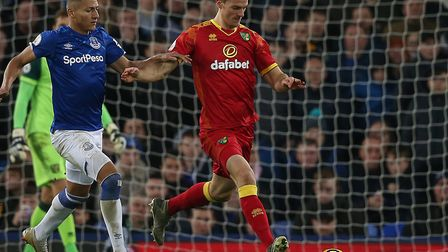 Christoph Zimmermann returned to action for Norwich City during a 2-0 win at Everton Picture: Paul C