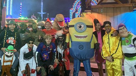 The Norwich City players enjoying their Christmas party at Winter Wonderland in London's Hyde Park P