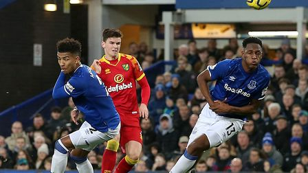 Sam Byram of Norwich has a shot on goal during the Premier League match at Goodison Park, LiverpoolP