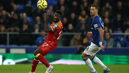 Alex Tettey was able to take up his more familiar central midfield role at Goodison Park. Picture: P