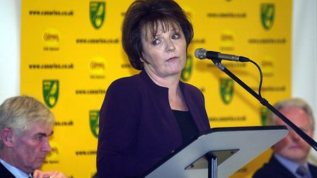Delia Smith will be attending her 23rd annual general meeting at Carrow Road, pictured here in 2001