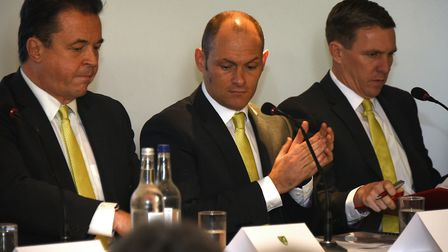 2017 was the only AGM that Jez Moxey, left, attended as chief executive of Norwich City, pictured al