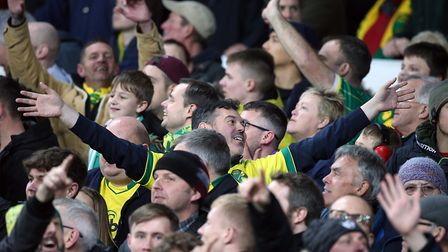 Norwich City's travelling fans were jubilant when Dennis Srbeny netted the second goal at Goodison P