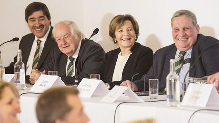 Norwich City directors, from left, Stephan Phillips, Michael Wynn Jones, Delia Smith and Michael Fou
