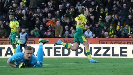 Todd Cantwell celebrates after restoring the Canaries lead. Picture: Paul Chesterton/Focus Images Lt