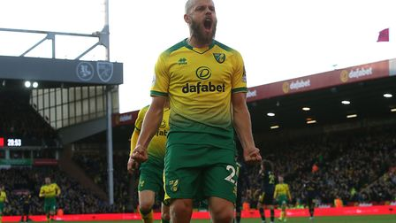 Teemu Pukki celebrates after opening the scoring at Carrow Road. Picture: Paul Chesterton/Focus Imag