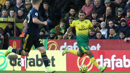 Onel Hernandez in action during the Premier League match at Carrow Road. Picture: Paul Chesterton/Fo
