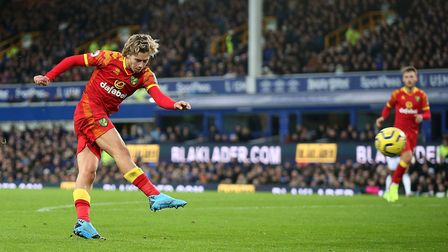 Todd Cantwell burst beyond Teemu Pukki to score City's opening goal at Goodison Park Picture: Paul C