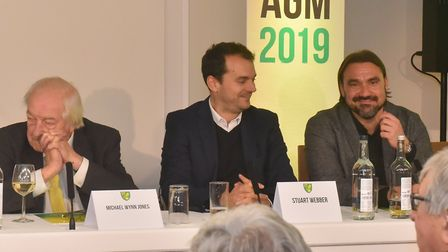 Norwich City sporting director Stuart Webber, centre, alongside joint majority shareholder Michael W