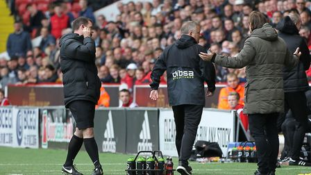 Daniel Farke and Chris Wilder exchange words after a feisty game back in 2017 that saw Wilder descri