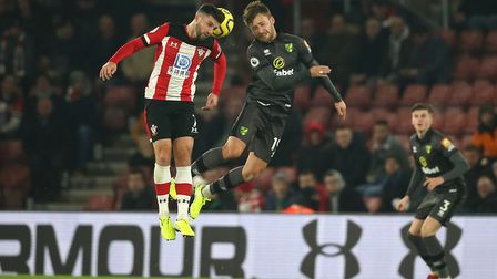 Heads you win ... Tom Trybull up against Southampton's Shane Long Picture: Paul Chesterton/Focus Ima