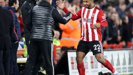 Sheffield United's Lys Mousset celebrates with manager Chris Wilder Picture: PA