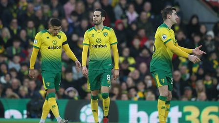 Dejection is written onto the faces of the Norwich City squad after conceding. Picture: Paul Chester