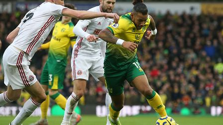 Onel Hernandez takes on the Blades defence during City's Premier League defeat at Carrow Road. Pictu