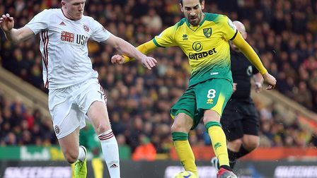 Mario Vrancic tested Sheffield United keeper Dean Henderson in the first half of Norwich City's defe