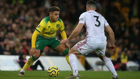 Norwich City's England Under-21s right back Max Aarons had a tough day against Sheffield United's En
