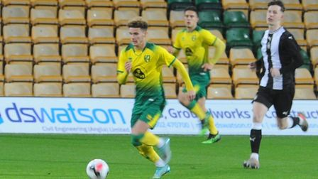 Josh Martin in action for Norwich City in the FA Youth Cup third-round tie against Newcastle United