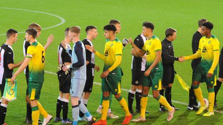 Norwich City U18 players, from left, Zach Dronfield, Sam Blair, Andrew Omobamidele, Jonathan Tomkins