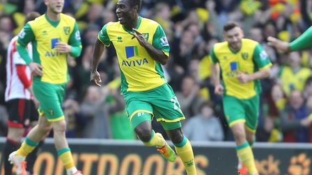 Alex Tettey runs to celebrate his superb strike against Sunderland at Carrow Road in 2014 Picture: C