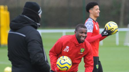 All smiles for Ibrahim Amadou at Norwich City training on Thursday morning ahead of the trip to Leic