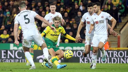 Todd Cantwell takes the fight to Sheffield United but it was a bad day at the office for Norwich Cit