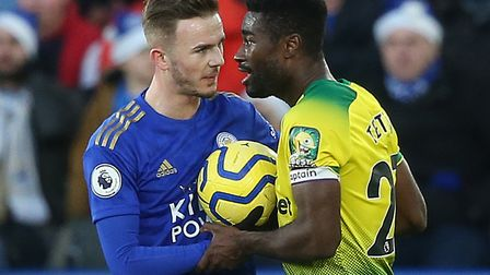 James Maddison and Alex Tettey clashed