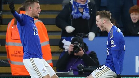 Jame Vardy celebrates helping Leicester City equalise with James Maddison. Picture: Paul Chesterton/