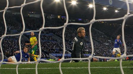 Teemu Pukki rolls the ball home to give City the lead