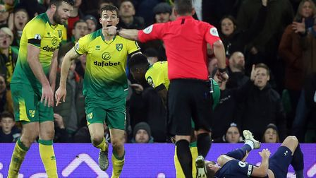 Kevin Friend points to the penalty spot after Christoph Zimmermann upends Harry Kane in Norwich City