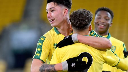 Anthony Spyrou celebrates a goal against Newcastle with Max Aarons, during Norwich City U18s' FA You