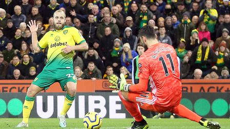 Norwich City striker Teemu Pukki could find no way past Wolves' keeper Rui Patricio Picture: Paul Ch