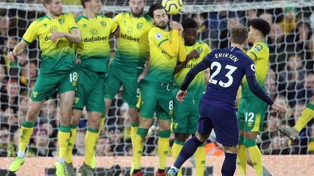 Christian Eriksen curled in a free-kick for Tottenham's first equaliser at Carrow Road Picture: Paul