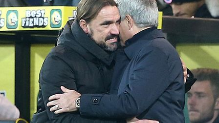 Norwich City boss Daniel Farke gets a hug from Jose Mourinho after earning another point for the Can