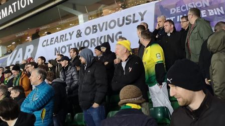 City fans voice their displeasure at VAR through banners. Picture: AlongComeNorwich