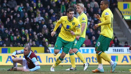 Grant Holt celebrates scoring his goal in City's 4-1 FA Cup win over Burnley in 2012 Picture by Paul