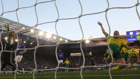 Teemu Pukki can't quite get on the end of a cross from Max Aarons at Leicester Picture: Paul Chester