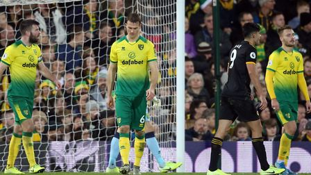 Norwich City conceded two second half goals in a 2-1 Premier League defeat to Wolves Picture: Paul C