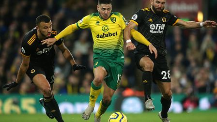 Emi Buendia was a constant threat for Norwich City in a 2-1 Premier League defeat to Wolves Picture: