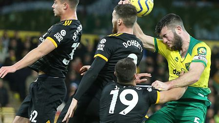 Grant Hanley made an impressive return from injury for Norwich City against Wolves Picture: Paul Che